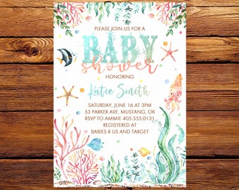 Under The Sea Baby Shower Invitation, Under The Sea Invitation, Ocean Baby Shower Invitation, Ocean Invitation, Underwater Invitation