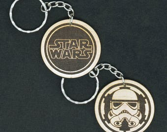Star Wars Imperials Hand Made Laser Engraved Wood Keyring Keychain by JayEngrave