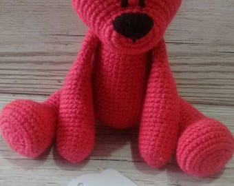 Pink bear, Crochet teddy bear, Dark Pink, new baby gift, baby shower, birthday, christmas, teddy bear