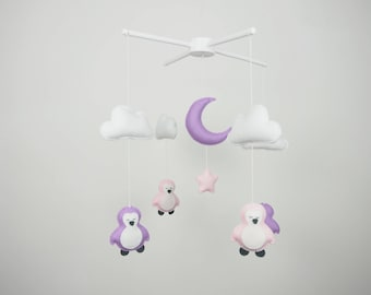 SALE 25% OFF - Cloud mobile - Penguin mobile - Baby mobile -Cot mobile - Baby mobile for girl - Ready to ship