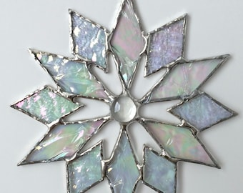 stained glass snowflake suncatcher (design 4D)