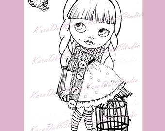 Geschilderd Stamps Blythe poppen, kinder stempels, stempel grote ogen, stempelen afdrukbare, pop, Digi Stamps digitale postzegels, Blythe pop K-03