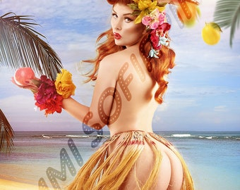 Pin Up Hula Girl inspired by Elvgren - Print by Dollhouse