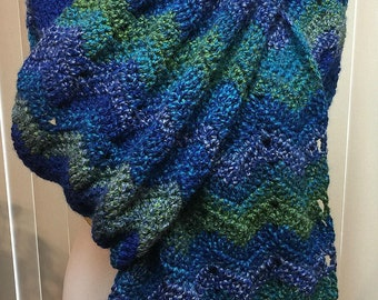 Blanket Scarf, Crochet Scarf, Blue, Green, Chevron, Handmade, Winter, Bulky, Long and Wide Scarf, Gift for Him, Gift for Her, Christmas Gift