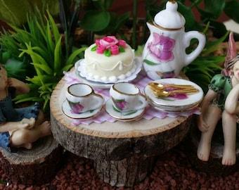 SALE!! Fairy garden miniature tea set, fairy garden cake, dollhouse tea set, fairy coffee, fairy tea set, mini tea set, fairy garden kit
