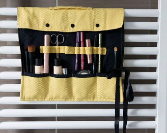 Special makeup brush roll organizer with waterproof lining , travel beauty case, makeup brush holder, beauty roll
