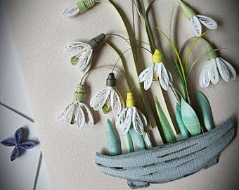 Quilling Art Paper Quilling Art. Handmade Snowdrop flower card.Spring flower. Wedding . Mother's day.Any occasion. Wall art.Home deco.