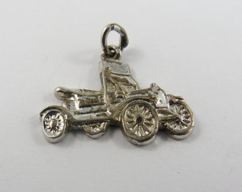 3D Roadster Sports Car Sterling Silver Charm of Pendant.