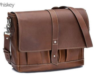 GENTLY USED - Attache Mens Leather Messenger Bag - Whiskey | Leather Laptop Bag