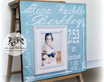 Baptism Gift For Goddaughter, Girl Baptism Gift, Birth Stats Frame, Gifts From Godparents, Baby Girl Gift, Teal 16x16 The Sugared Plums