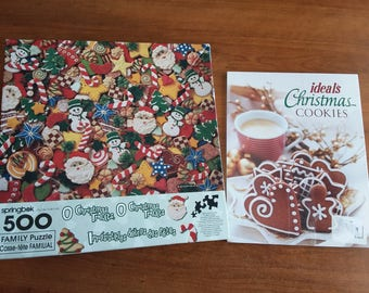 O Christmas Treats, O Christmas Treats Springbok 500 vintage puzzle. Ideals Christmas and Christmas Cookie books are still factory sealed.