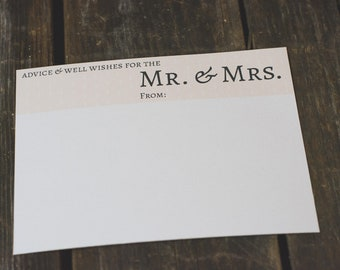 Mr & Mrs Advice Card Printable - Coral Dots