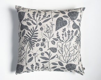 Charcoal House Plants Pillow Case - Linen