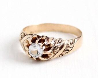Sale - White Topaz Ring - Antique 10k Rosy Yellow Gold Vintage Size 9 1/2 Alternative Engagement - Promise Fine Belcher Art Nouveau Jewelry