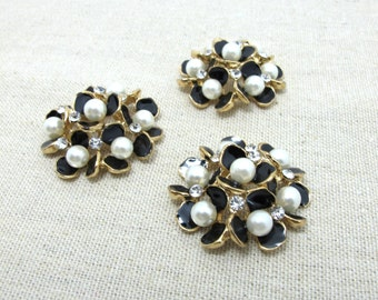 2 Pieces 1 5/16 Inches Black Gold Metal Floral Cluster Buttons with Rhinestone and Pearls Flower Button Sew On Button Decorative Button