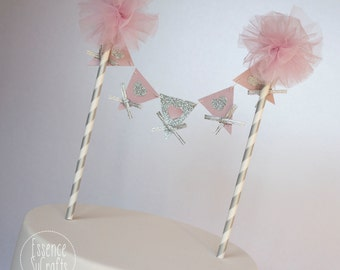 Banner Cake Topper, Birthday Party, Birthday cake banner, Smash cake decor, Birthday Cake Topper. blush tulle pompom. streaky pattern straw