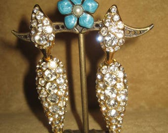 Rhinestone Dangle Teardrop Earrings Clip Vintage