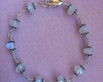 Moonstone and Sterling Silver Wire Wrapped Bracelet