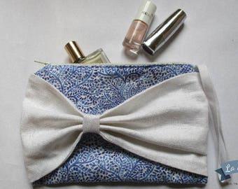 Kit à coudre : pochette à noeud en lin blanc et motif indigo