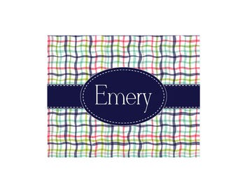 Personalized Preppy Plaid White Wall Canvas