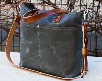 Tote with Shoulder Strap - FREE Standard Shipping in US - Bridle Leather - Copper Rivets - Unisex - Made in USA