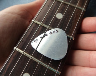 Guitar Pick Love You Dad- Stamped Silver Guitar Pick Aluminum- Plectrum Father's Day Gift -Musician Gift Aluminum Metal