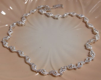 Napier Delicate Silver Tone Rhinestone Choker Necklace Perfect for a Bride ,Special Occasion or Mother's Day Gift