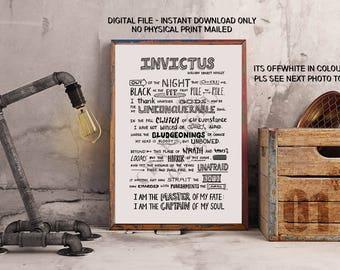 Invictus Poem, Willian Ernest Henley, Literature Print, Hand Lettered Art, Custom poem, Invictus framed, poetry print, minimalist art