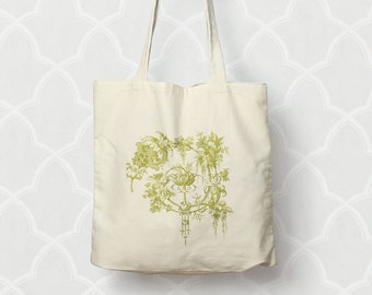 Garden Tote Bag Cotton Canvas Market Tote  Moss Green or Pink Shopping Bag Floral Gardener Gift