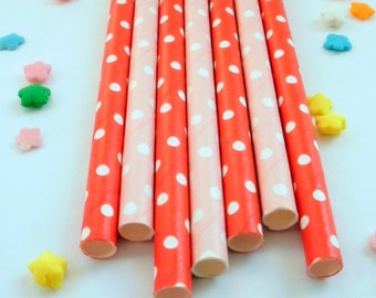50 Pink and Red Swiss Dot Paper Drinking Party Straws