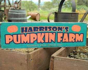"""Distressed Primitive Country Wood Sign - Your Name Pumpkin Farm Halloween sign  5.5"""" x 19"""""""