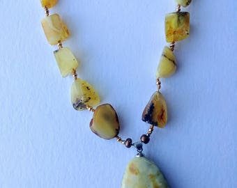 3.Baltic amber jewelry, Victorian pendant necklace
