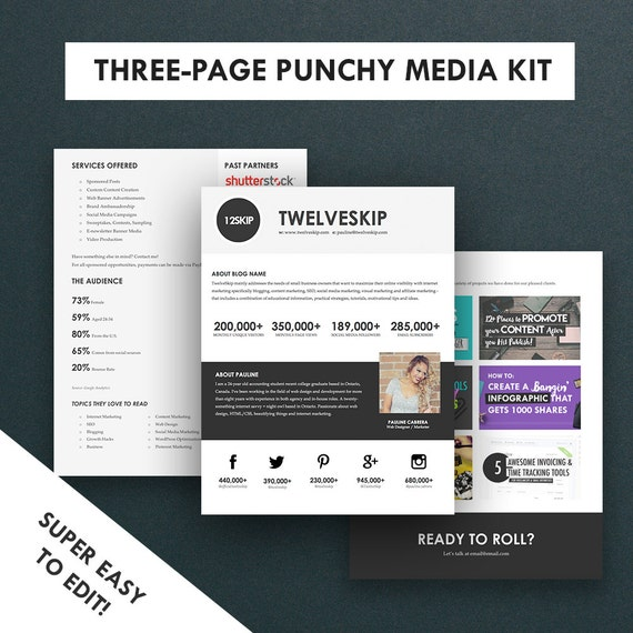 press pack template minimalist media kit template press kit 3 pages