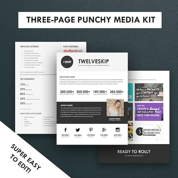 Minimalist media kit template press kit 3 pages for Online media kit template