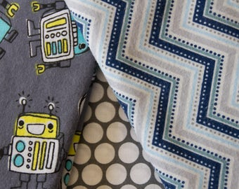 """Made To Order, """"Robots"""", Handmade Flannel Baby Quilt, Chevron Print, Blue and Gray Blanket"""
