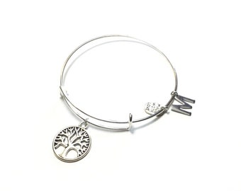 Tree of Life Bangle Bracelet  Adjustable Bracelet
