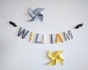 Garland name/letters banner baby/toddler boy yellow grey Moustache Scandinavian nursery decor