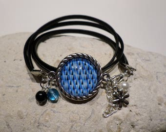 Bracelet cabochon blue geometric patterns, black leather bracelet, pattern art deco, birthday gift, jewelry, woman, teen