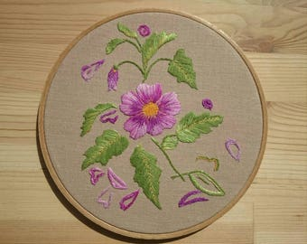 "Embroidery Purple Flowers / 8"" Wall Art / Hand Embroidered Floral  Chic Decor / Country Hoop Art"