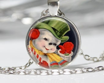 Christmas Necklace Snowman Pendant Wearable Art Snowman Necklace Christmas Jewelry