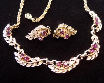 Vintage Rhinestone Necklace & Earring Set Purple Rhinestones Gold Tone Leaves