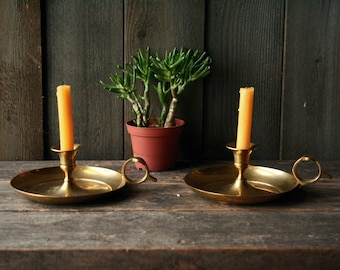 Two Brass Candle Holders Bohemian Decor Boho Decor Table Top Finger Loop Vintage From Nowvintage on ETsy