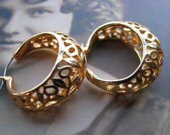 Hoop Earrings, Gold Hoop Earrings, Openwork Hoop Earrings
