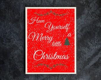 Christmas Decor / Merry Christmas / Calligraphy / Wall Art / Christmas Tree / Christmas Picture / Have Yourself a Merry Little Christmas