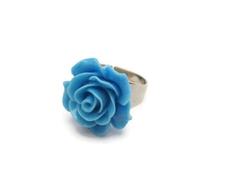 Blue Flower Ring Blue Rose Ring Kawaii Adjustable Ring Statement Ring Cosplay Jewelry Flower Jewelry Blue  Rose Jewelry