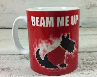 New Beam Me Up star trek inspired gift mug cup Scottie dog scotty present for fans
