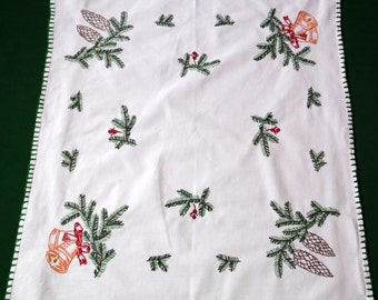 Christmas Vintage white cotton square tablecloth handmade embroidery embroidered table Branches pine cones  and bells Crochet edging