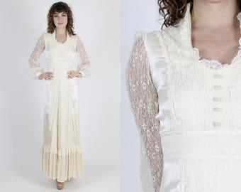 Gunne Sax Dress Maxi Dress Boho Dress Boho Wedding Dress Prairie Dress Vintage 70s Dress Ivory Satin Lace Hippie Bridal Dress Small S