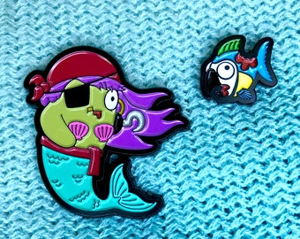 Zombie Pirate Mermaid & Parrotfish Enamel Pin Set
