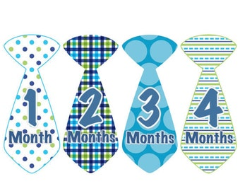 Baby Month Stickers INSTANT DOWNLOAD Baby Boy Tie Stickers Blue Green Ties Stickers Monthly Boy Stickers Baby Shower Gift Photo Prop Eddie